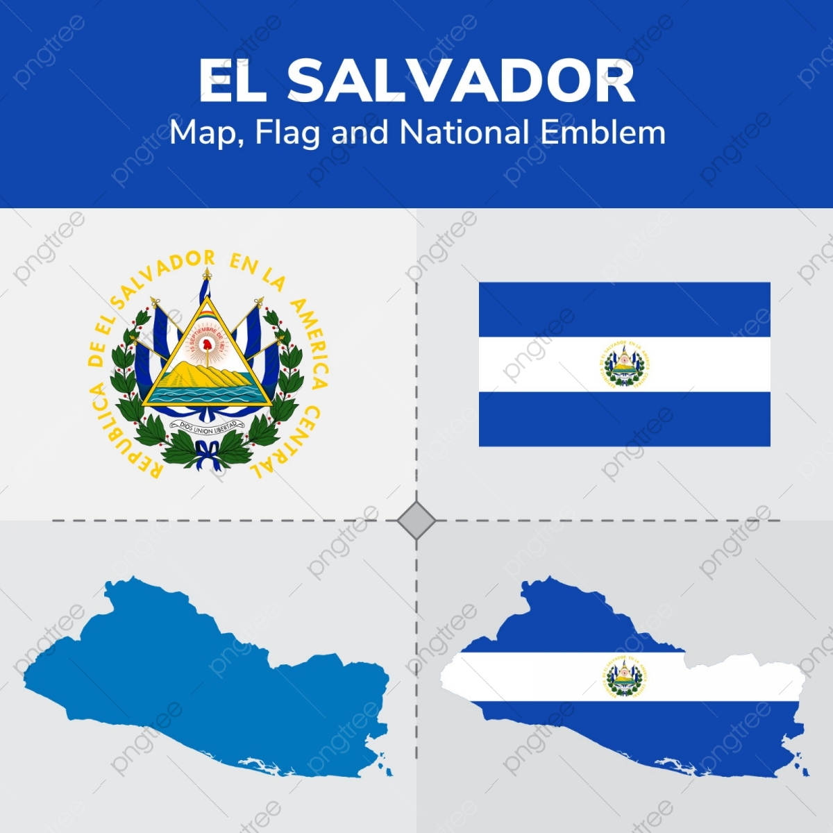 El Salvador Map Flag And National Emblem, Continents, Countries, Map.