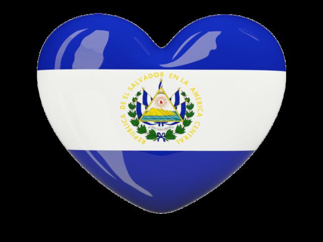 Heart icon. Illustration of flag of El Salvador.