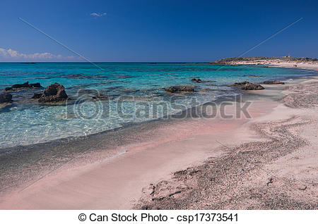 Stock Photo of Pink sand in Elafonisi Beach.