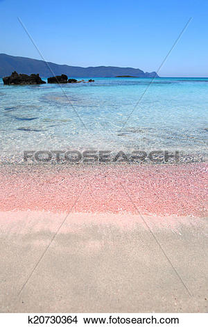 Stock Photo of Pink sand beach with crystal waters Elafonisi Crete.
