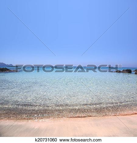 Stock Photography of Pink sand beach with crystal waters Elafonisi.