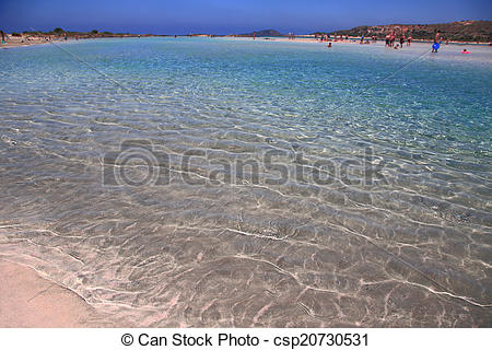 Stock Photos of Pink sand beach with crystal waters and people.