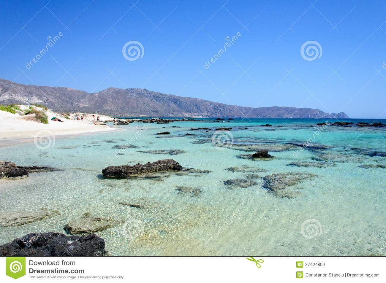Elafonissi Beach, With Pinkish White Sand And Turquoise Water.