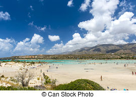 Stock Photography of Pink Sand Beach of Elafonissi.