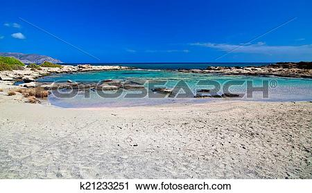Stock Photography of bay with pink sand at Elafonissi beach.