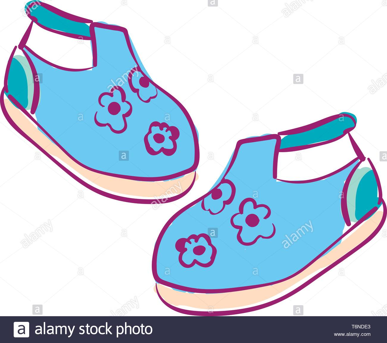 Clipart of a pair of baby's shoes blue in color with white.