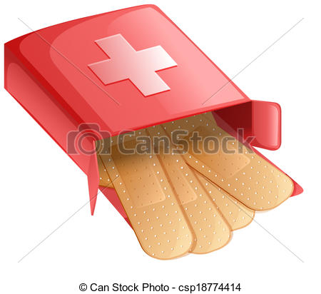 Vector Clip Art of Plasters in a red box.
