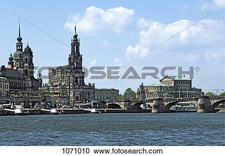 Stock Photography of View across the Elbe River of historic.