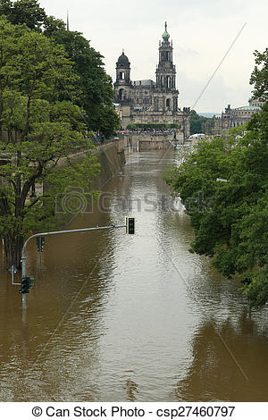 Stock Photographs of flood in Dresden 2013 Embankment of the Elbe.
