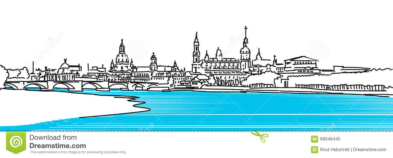 Dresden Panaroma Sketch, Colored River Elbe Stock Vector.