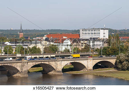 Picture of Arched Bridge Over Elbe River Dresden Germany x16505427.