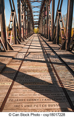 Stock Photo of Old Railway Bridge over the Elbe in Magdeburg.