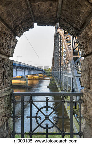 Stock Image of Germany, Hamburg, Harburg, Old Harburg Elbe bridge.