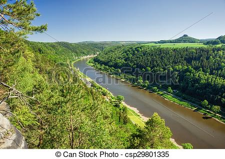 Stock Photos of Elbe canyon flowing through the Czech.