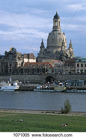 Stock Image of View across the Elbe River of the Frauenkirche.