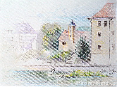 Landscape River Elbe Stock Illustrations.
