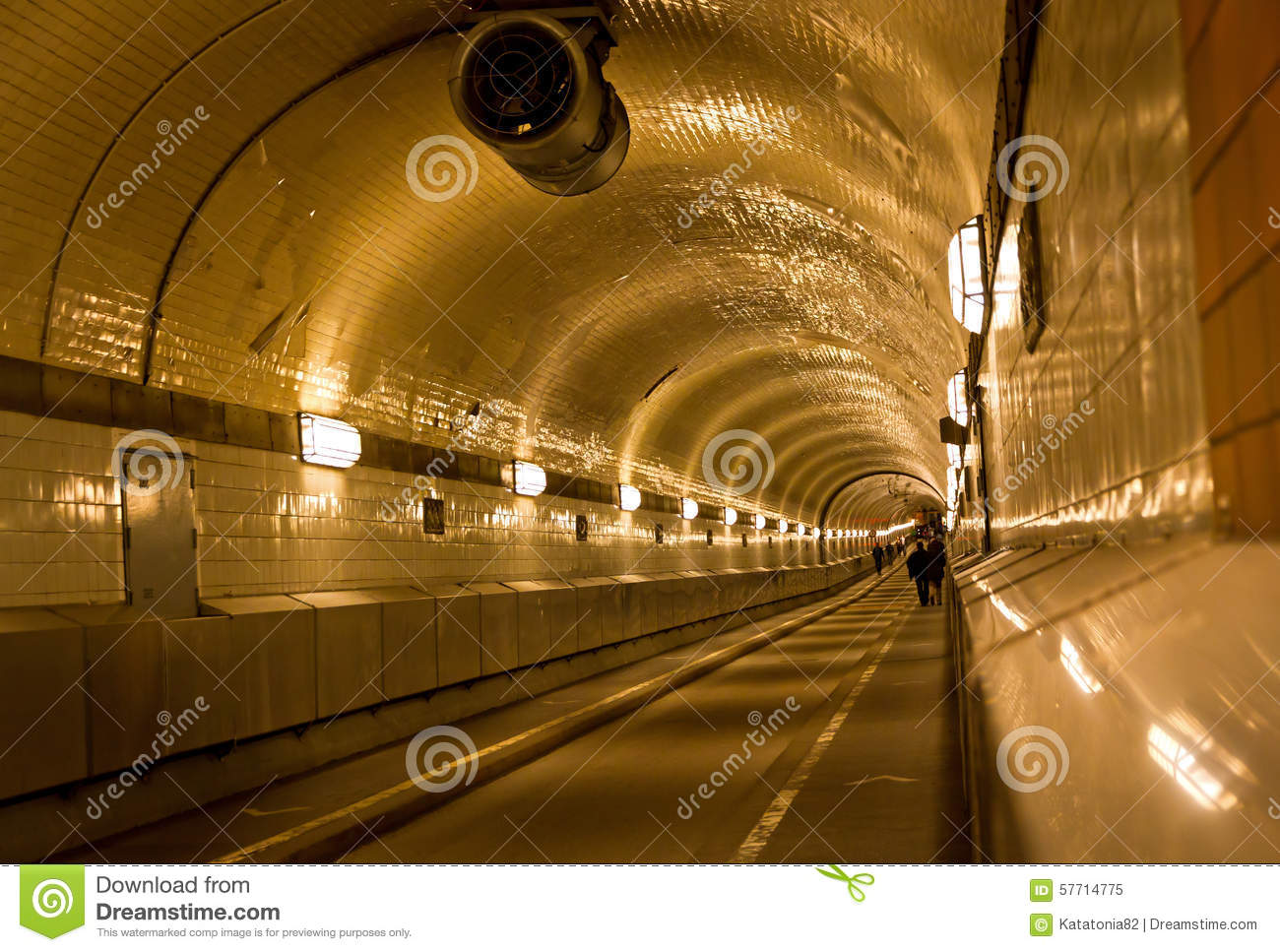 Tunnel Under The Elbe River In Hamburg, Germany Stock Photo.