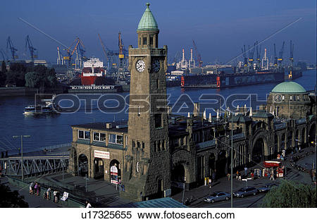 Stock Image of Europe, business, Elbe, container ship, container.