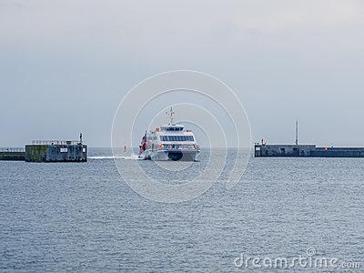 Halunder Jet Catamaran On Its Way To Helgoland Harbour Editorial.