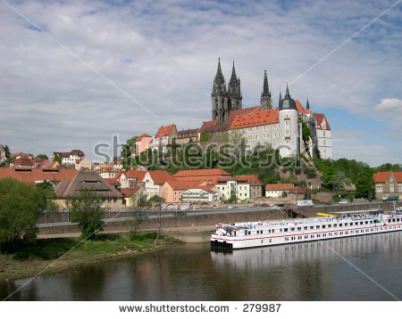 Albrechtsburg Castle And Meissen Cathedral On The Elbe River.