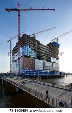 Stock Photo of Elbe Philharmonic Hall under construction, Hamburg.