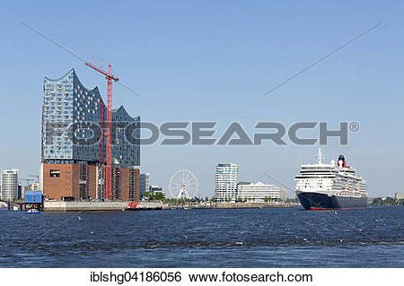 Stock Images of Cruise ship Queen Elizabeth, port with Elbe.