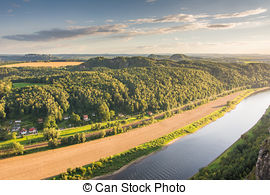 Stock Photo of River Elbe in the Elbe Sandstone Mountains (Saxony.