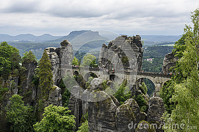 Park Elbe Sandstone Mountains Bastei Tourists Editorial Stock.