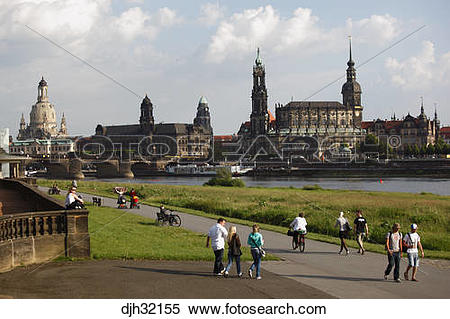 Stock Image of Germany, Saxony, Dresden, Old Town, Skyline, River.