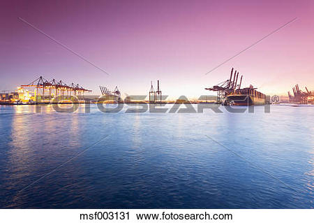 Stock Photography of Germany, Hamburg, Parkhafen, harbour, Elbe.