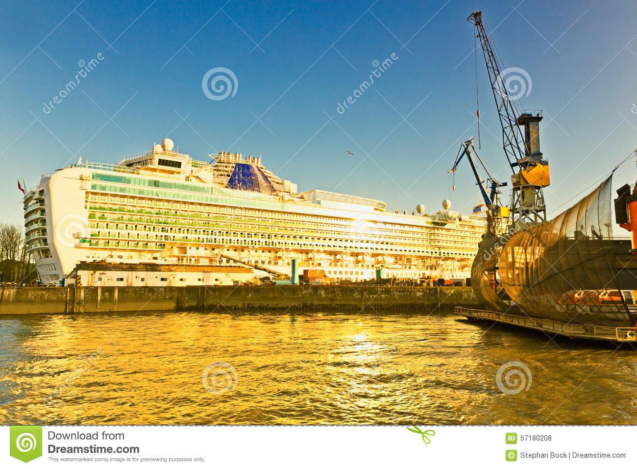 Hamburg, Shipyard At The River Elbe, Cruise Ship Stock Photo.