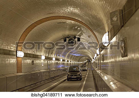 Stock Photography of Cars drive through the old Elbe tunnel.