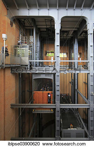 """Stock Photography of """"Old Elbe Tunnel lift, Hamburg, Germany."""