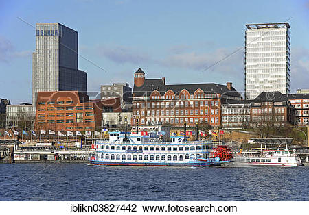 """Stock Photo of """"The St. Pauli Landing Stages, Old Elbe Tunnel."""