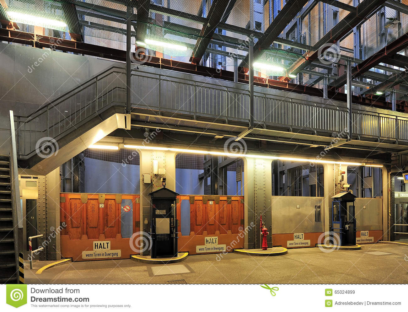 Elevators In The Old Elbe Tunnel (Elbtunnel), Hamburg, Germany.
