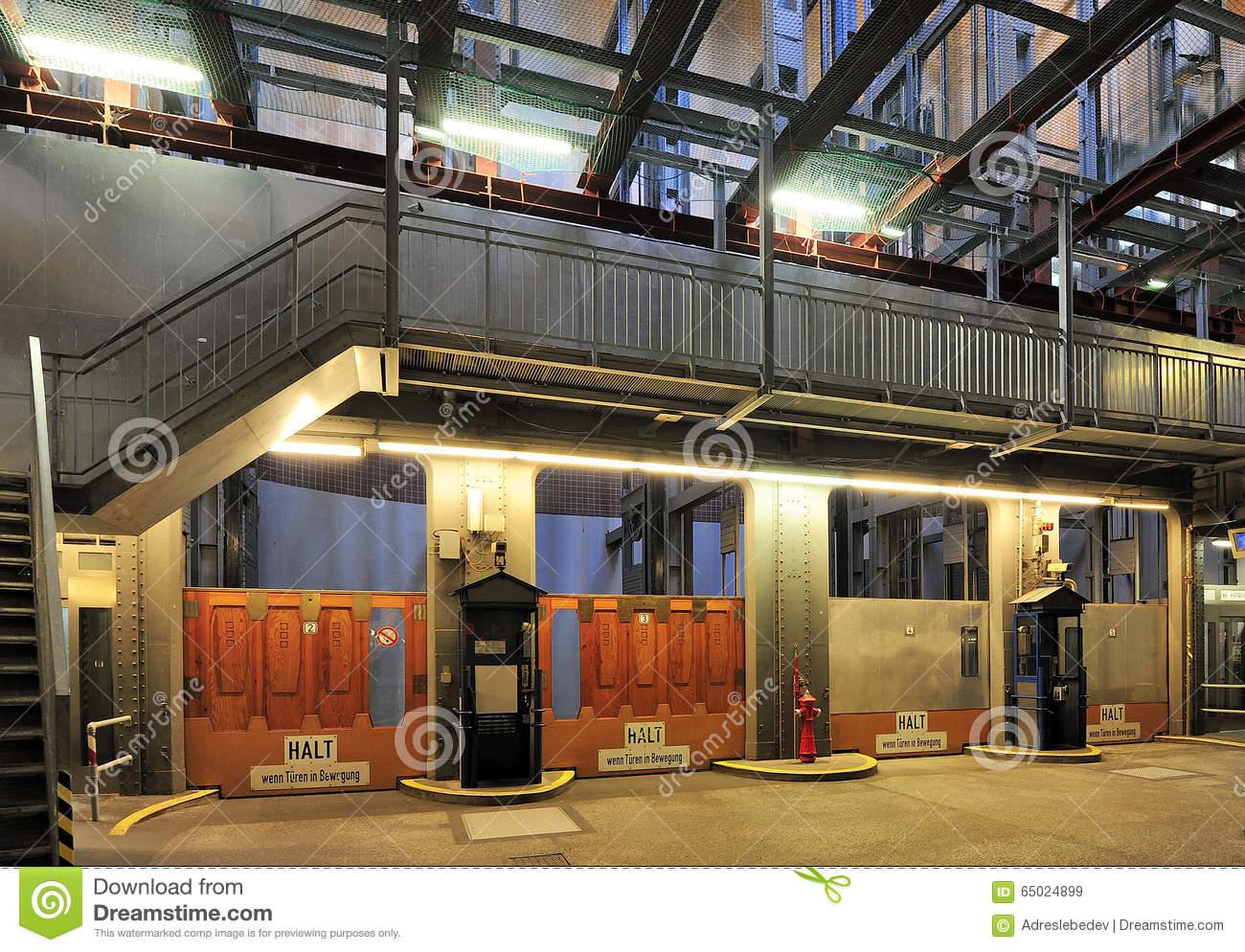 Elevators In The Old Elbe Tunnel (Elbtunnel), Hamburg, Germany.