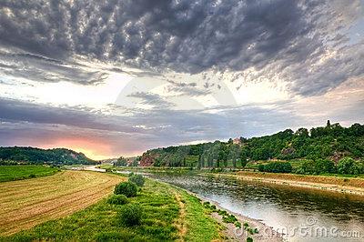 Elbe River Valley, Germany Royalty Free Stock Photos.