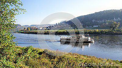 Steamer In The Upper Elbe Valley In Saxony Royalty Free Stock.
