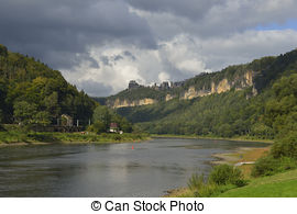 Picture of bad schandau and elbe valley with mountains csp5768387.