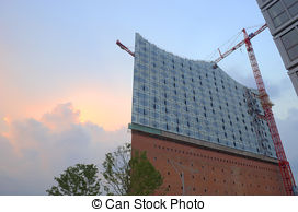 Stock Images of Elbphilharmonie Construction Hamburg.