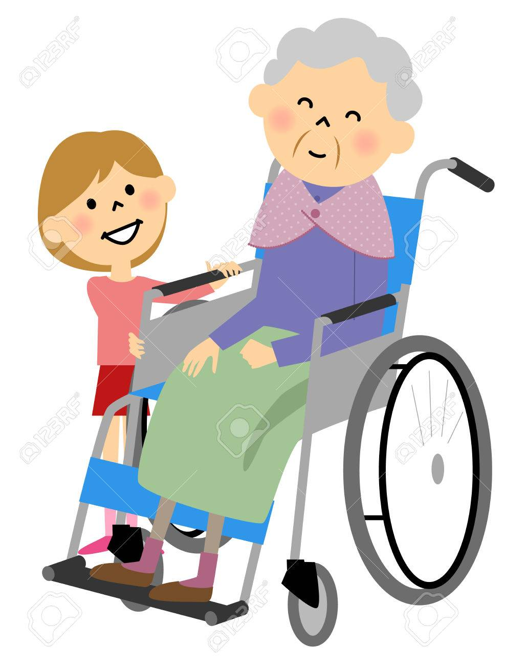 The elderly to sit in a wheelchair, nursing care.