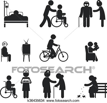 Elderly care icons Clipart.