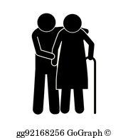 Elderly Walking Clip Art.
