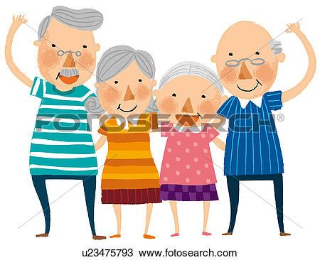 Drawing of Group of elderly couple u23475793.