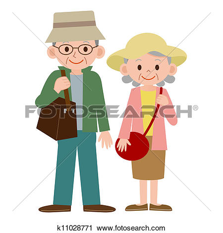 Clip Art of Surprised elderly couple k10338222.