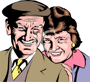 Realistic Elderly Couple Clip Art.