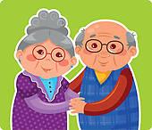 Clipart of Elderly couple in love k11028771.