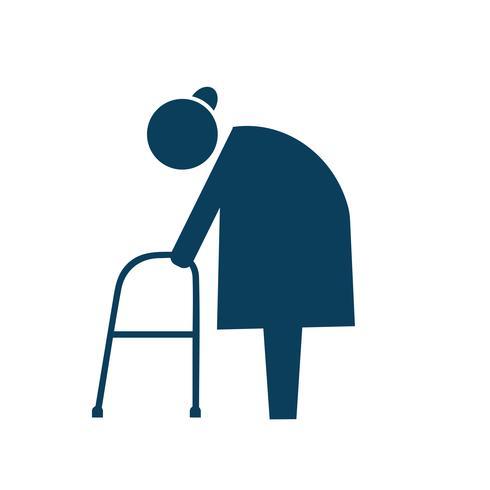 Elderly with walker icon pictogram illustration.