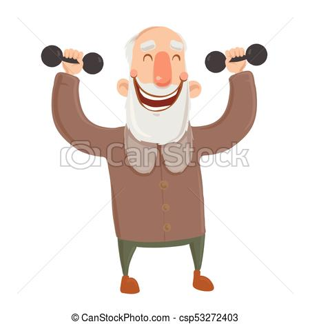 Smiling bearded old man with dumbbells. Active elderly man exercising.  Cartoon character vector illustration. Isolated image on white background..