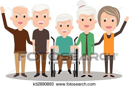 Group of elderly people stand together. Health Cartoon Vector illustration.  Old Senior people concept. grandfather and grandmother. Clipart.